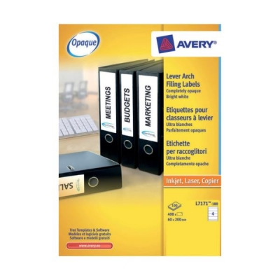 avery filing labels laser lever arch 4 per sheet 200x60mm ref l7171