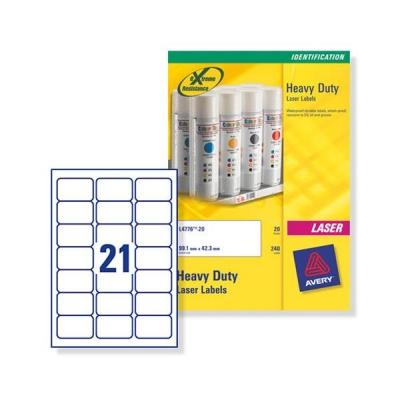 Avery Heavy Duty Labels Laser 21 per Sheet 63 5x38 1mm White Ref L7060-20  [420 Labels]