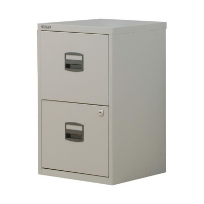 0009052d78e Trexus by Bisley SoHo Filing Cabinet Steel Lockable 2-Drawer A4  W413xD400xH672mm Grey at Office Allsorts